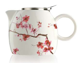 japanese blossom ceramic teapot with infuser