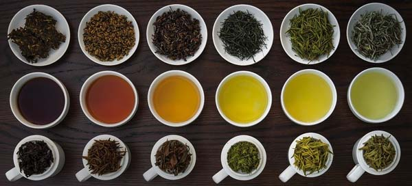 different types of tea in loose leaf form