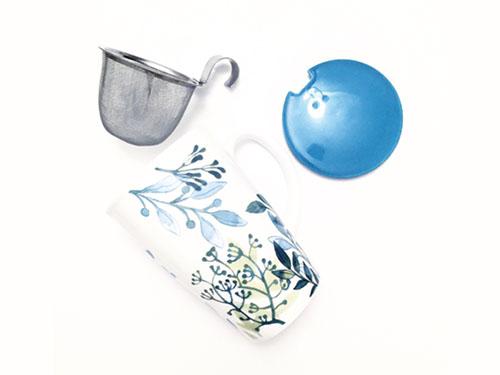 for teas sake teal and green leaf porcelain infuser mug
